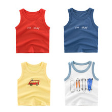 2019 Summer Boys T- Shirts Cartoon Kids Underwear Girls Undershirts Baby Sleeveless T-shirts Vest Casual Clothes