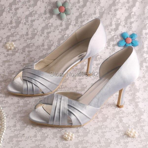 (20 Colors)Custom Color New Fashion High Heel Shoes Wedding Cross Strap Silver Satin
