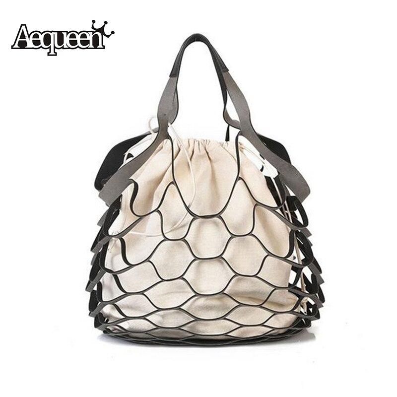 2Pcs Bag/Set Hollow Out Handbag Composite Bags Drawstring Bucket Shoulder Bag Canvas Top Handle Bags Tote
