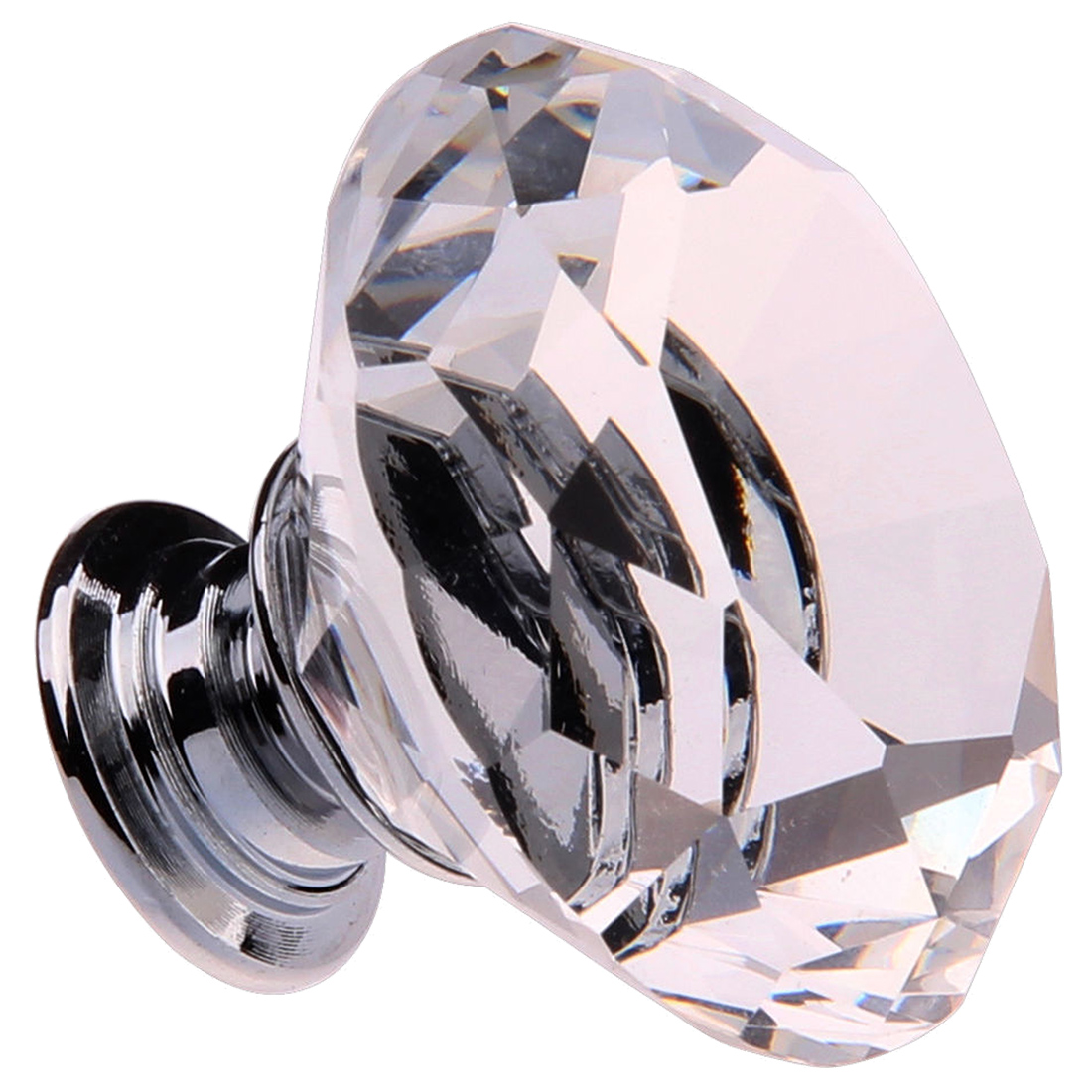 8X 40MM Clear Crystal Glass Door Knobs Handles Diamond Drawer Cabinet Furniture