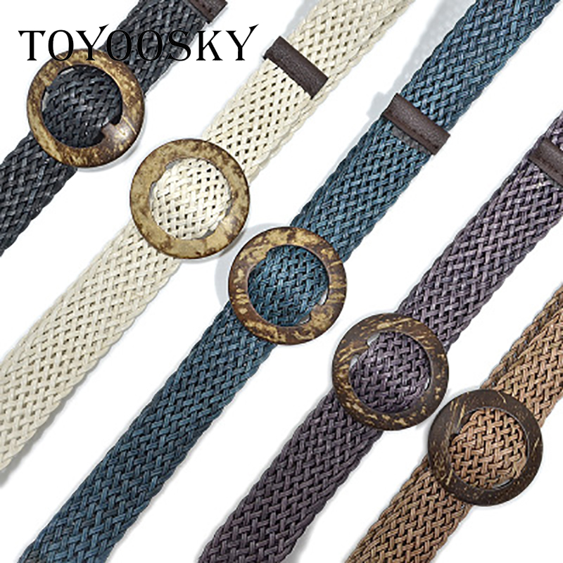 TOYOOSKY New Vintage Knitted Wax Rope Wooden Bead Waist Rope Women Smooth Buckle   Belt   Woman Hollow Woven Female Braided   Belt