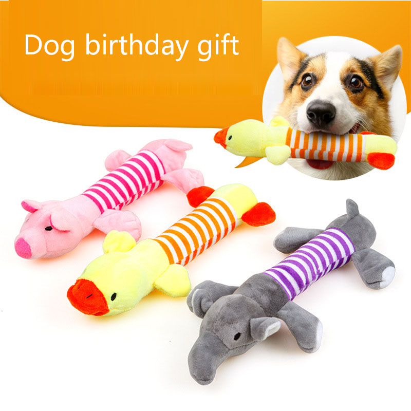 New Party gifts Puppy Chew Squeaker Squeaky Plush Sound Duck Pig & Elephant Dog Toys 3 Designs Dog birthday gift