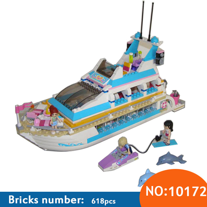 AIBOULLY Friends Series Girls Large cruise ships Model minis Building Blocks girl Summer baby toys compatible 41015