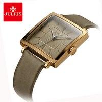 יוליוס מותג יוקרה קוורץ שעונים אישה רטרו כיכר רוז זהב חיוג עור שעוני יד מקרית שמלת שעון Montre Femme מתנה