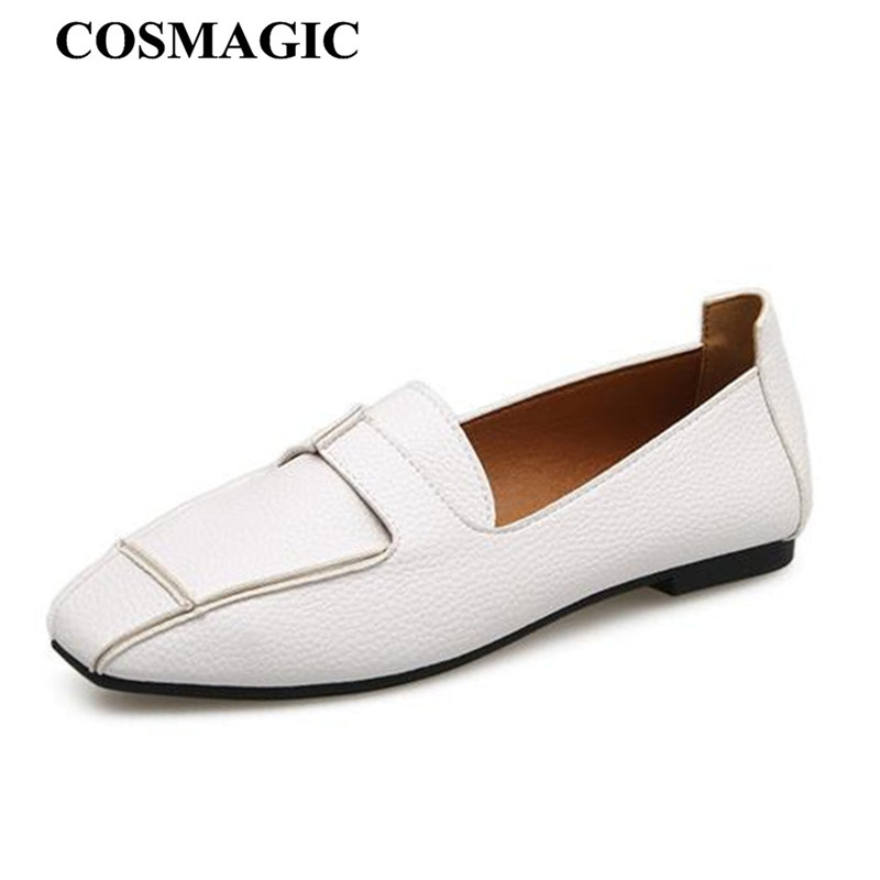 bb6a4d48a8 COSMAGIC New Bowtie Women Moccasins Flats 2018 Spring OL Slip on White Black  Soft Walking Driving Casual Boat Shoes Loafers