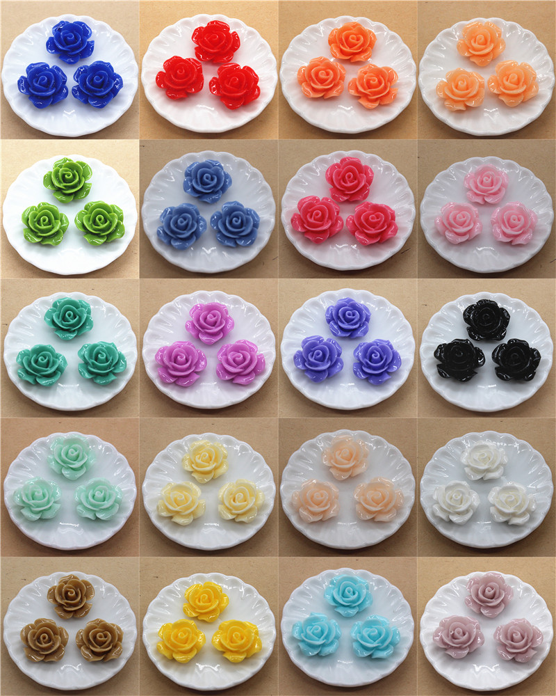 50pcs 15mm Resin Rose Flowers Flat Back Cabochon DIY Jewelry/ Craft Decoration,20 Colors To Choose