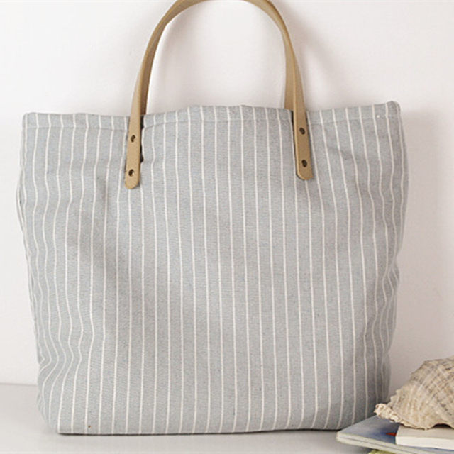 Canvas Tote Bag Striped Female Reusable Cotton Fabric Recycled Women Classic Free Shipping