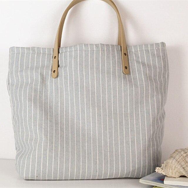 baa4b3c47 Saco de lona listrado tecido de algodão reutilizável tote grande bolsa  feminina saco de lona reciclada