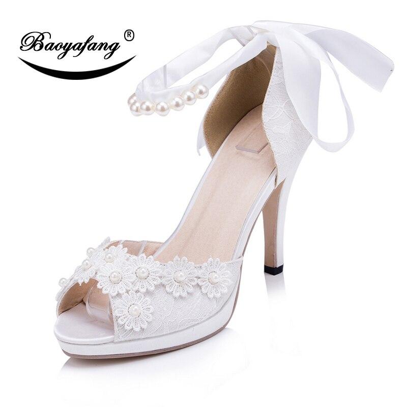 Mariée À Bride Fleur Partie De Doux Baoyafang Femme Mariage Hauts Heel Toe Peep Cheville Chaussures Blanc Talons La 8cm 1gxqIxtzw
