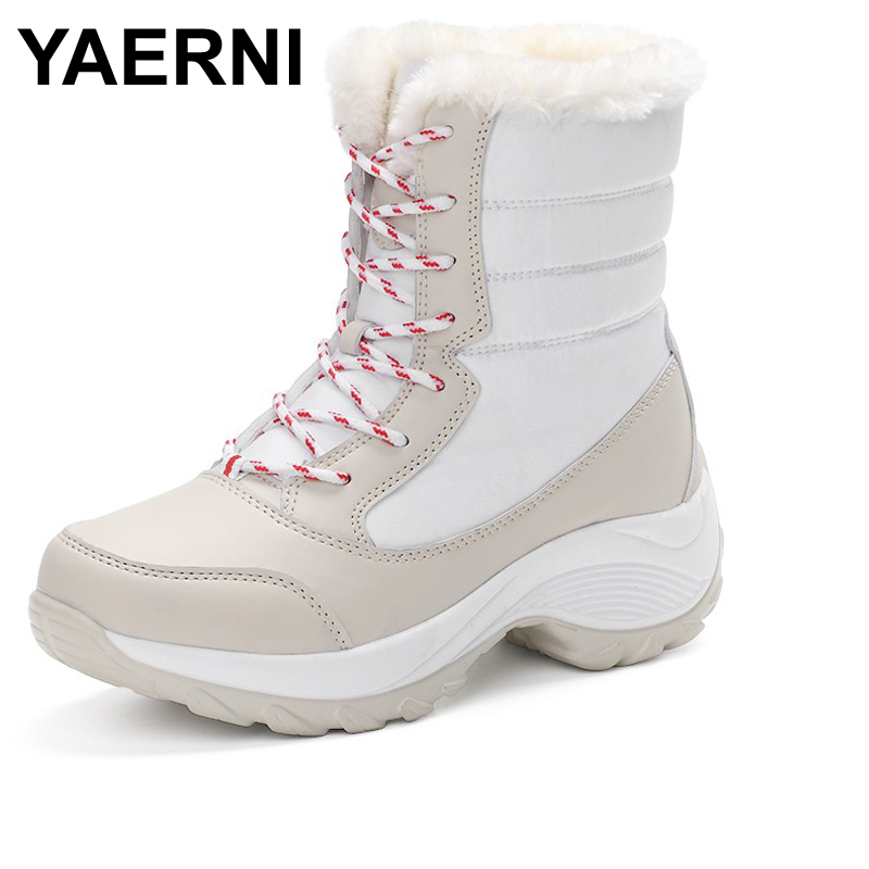 YAERNI 2017 women snow boots winter warm boots thick bottom platform waterproof ankle boots for women thick fur cotton shoes ...