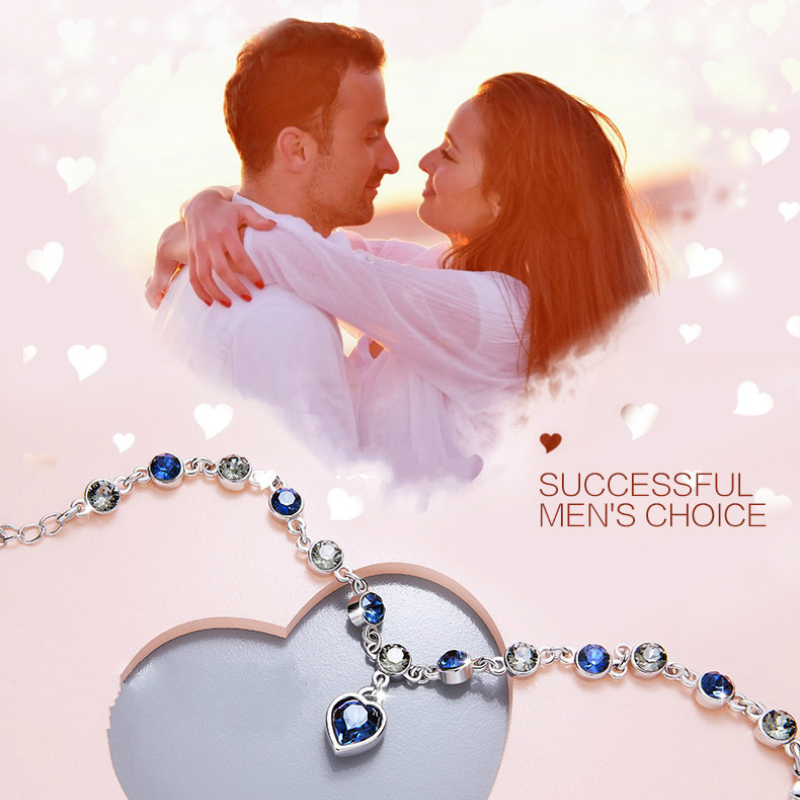 HTB1S10eBwKTBuNkSne1q6yJoXXa7 925 Sterling Silver Sapphire Bracelet For Women Romantic Heart-shaped Blue jewelry pulseira feminina kehribar bizuteria Bracelet