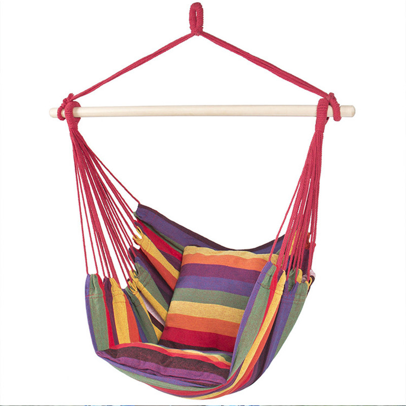 Portable Hammock Cradle Hanging Chair Outdoor Hammock Garden Sports Home Travel Camping Swing Canvas Stripe Hang Bed Red/Blue portable outdoor furniture hammock garden swing hanging chair hang swinging outdoor camping swing canvas red stripe