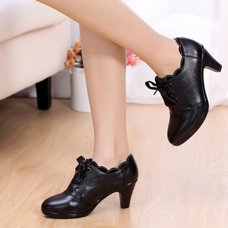 ee8f881700a15 New arrival Spring Black Genuine Leather women's shoes lace up thick heels  Round toe low heel Casual shoes Special offer-in Women's Pumps from Shoes  on ...