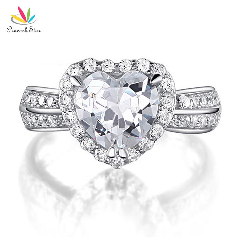 Peacock Star 2 Carat Heart Cut Solid 925 Sterling Silver Wedding Anniversary Engagement Ring Jewelry CFR8011