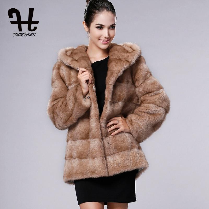 Nouveautés Sable Mode Femmes Réel Furtalk champagne Manteau Avec natural Grand Luxe Veste black Grey Vison Fourrure Hiver Color Capot De b7gyYf6