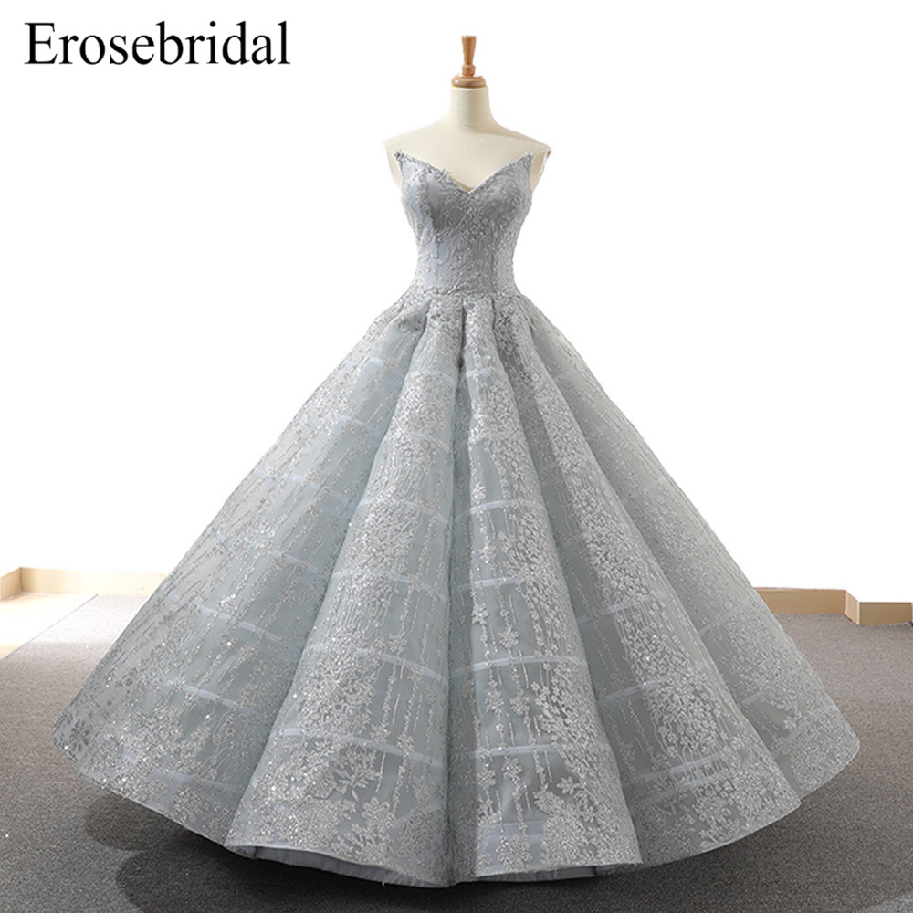 Real Image 2019 New Ball Gown Evening Dress Sparkly Beaded Skirt Formal Women Evening Wear Gowns Lace Up Back Robe De Soiree
