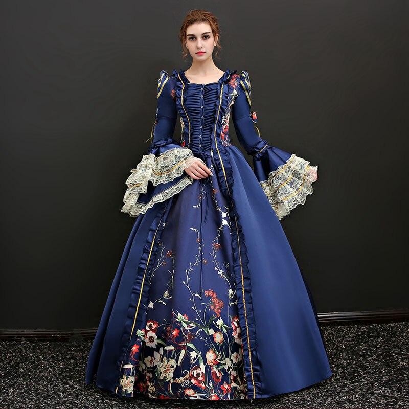 Personnalisé 2018 Rouge et Bleu Carré Cou Long Flare Manches guerre civile robes Blanc Dentelle Marie Antoinette Théâtre Vêtements Pour femmes