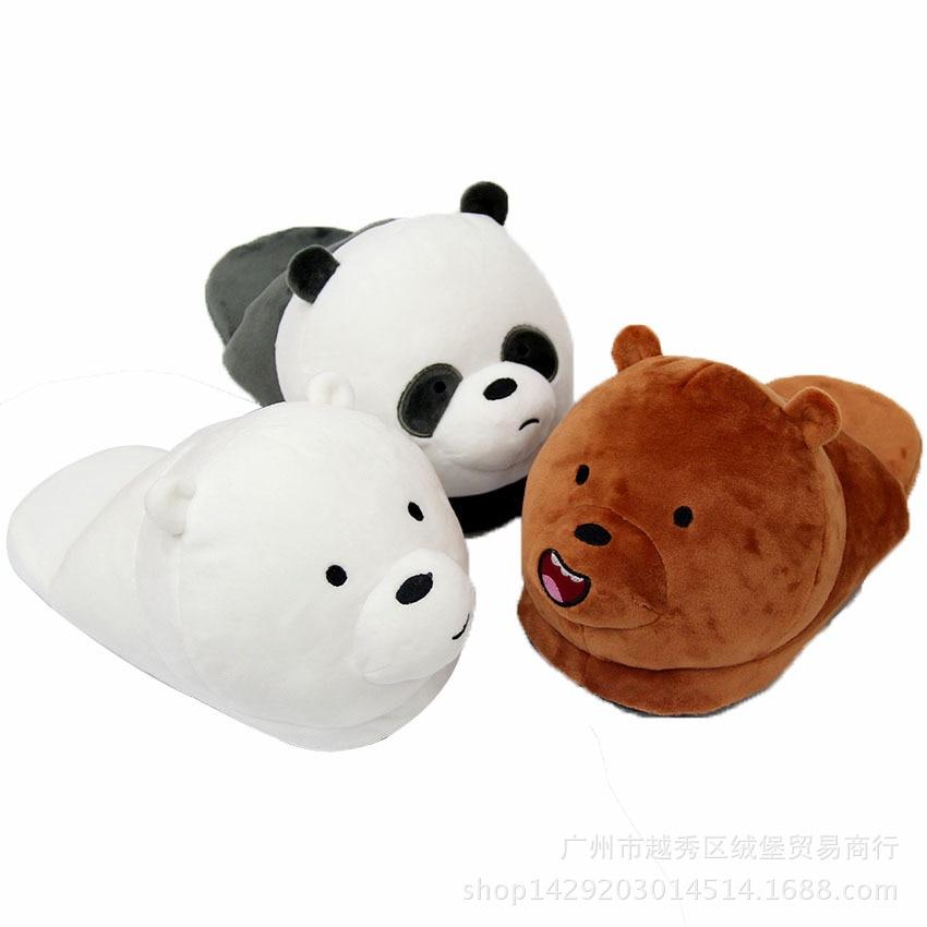 Zapatillas de invierno Unisex de dibujos animados para hombres y mujeres We Bare Bears estilo cálido hogar Panda oso marrón Oso Polar zapatillas de felpa