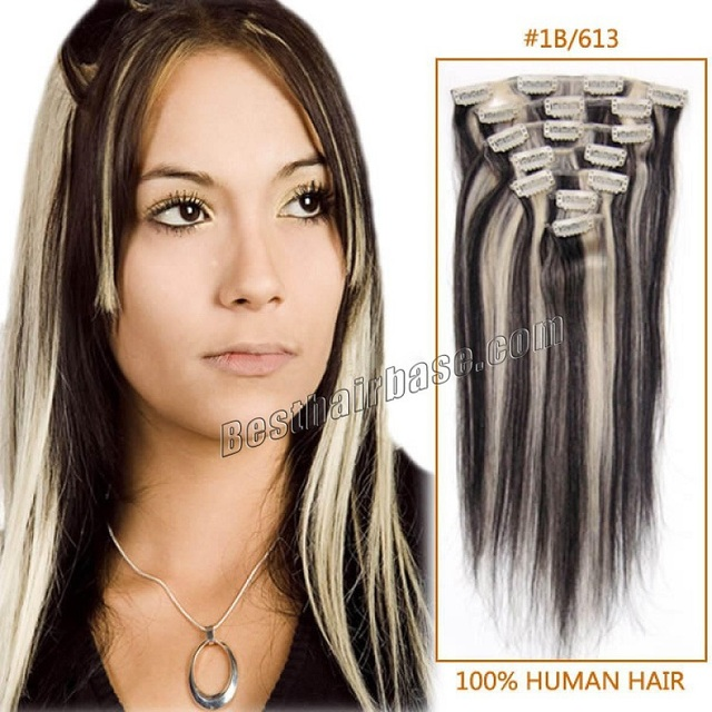Full Head Straight Easy Clip In Hair Extension In Mix Color 1b613