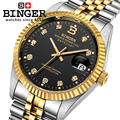 Suíça BINGER relógios de Pulso 18 K ouro relógios homens auto-vento mecânico automático de enrolamento de Pulso BG-0373 MECÂNICA