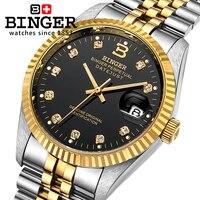Switzerland Wristwatches BINGER 18K Gold Watches Men Self Wind Automatic Winding Mechanical Wristwatches BG 0373