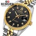 Suiza BINGER Relojes de Pulsera 18 K oro relojes hombres mismo-viento automático mecánico de Pulsera BG-0373