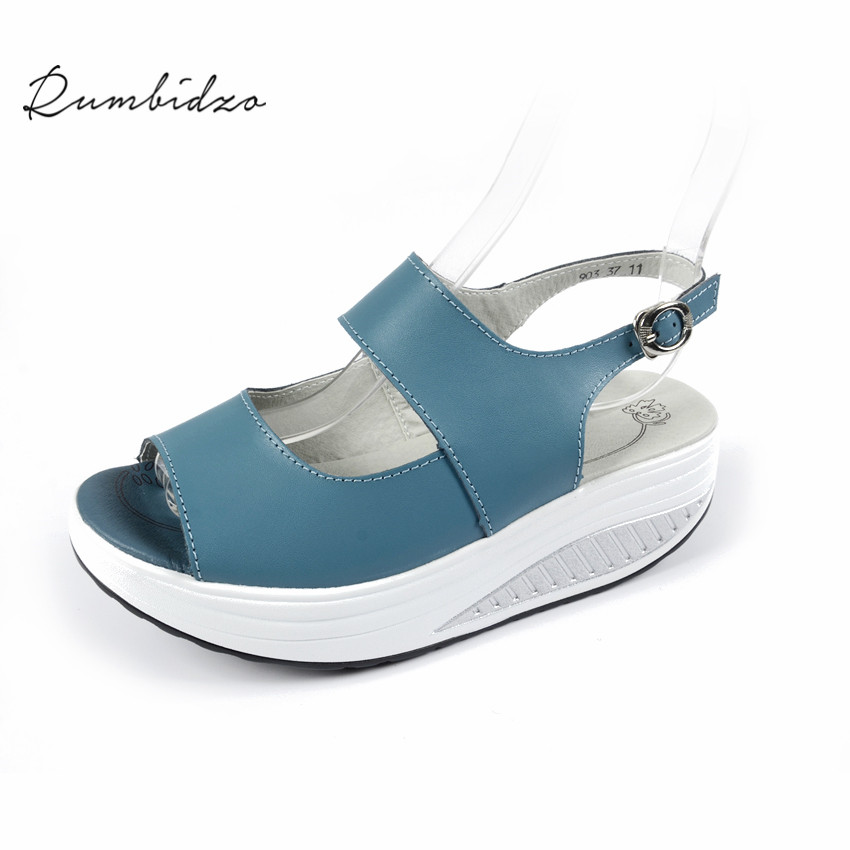 Rumbidzo 2017 Summer Women Sandals Peep Toe Swing Shoes Ladies Platform Wedges Sandals Woman Sandalias Zapatos size35- 43 women shoes summer women sandals 2017 peep toe gold silver roman sandals shoes platform brand creepers woman sandalias size 43