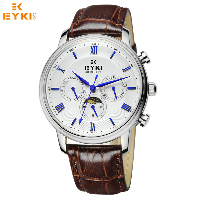 EYKI New 2017 Men Watch Luxury Famous Male Retro Roman Numeral Dial Genuine Leather Strap Clock Wrist Watch Relogio Masculino