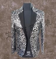 Men Suits Designs Leopard Homme Terno Stage Costumes For Singers Men Sequin Blazer Dance Clothes Jacket