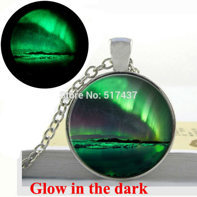 Glow in the Dark Necklace NORTHERN LIGHTS PENDANT north Green Aurora Borealis Necklace glass cabochon necklace glowing jewelry