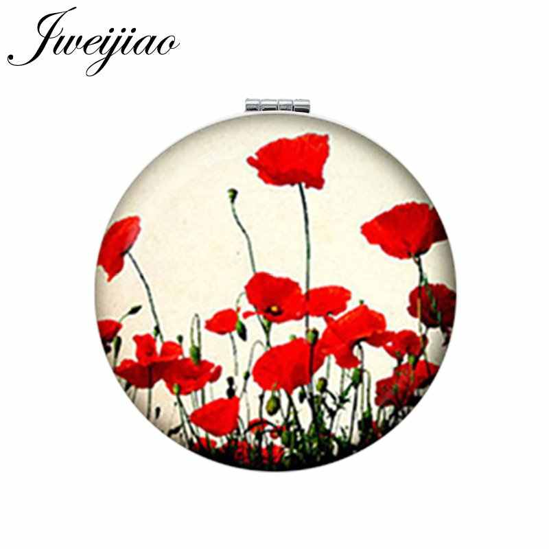 JWEIJIAO Scrapbook Album Embossing Craft Art Picture Flower Makeup Mirror Mini Round Folding Compact PU Leather Pocket Mirror