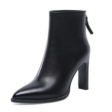 New Women Boots Pointed Toe High Heel Ankle Boots Genuine Leather Boots Winter Women Boots Black цена 2017