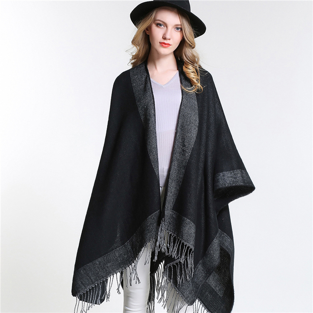 [SUMEIKE] 2017 New Spring Women Oversized Knitted Cashmere Poncho Capes Duplex Winter Shawl Cardigans Sweater Coat for Women