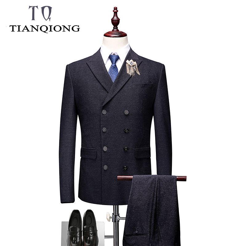 TIAN QIONG Double Breasted Suit Men Slim Fit Black Suits For Men Elegant Formal Bsuiness Wedding Suits (Blazers+Pants+Waistcoat)