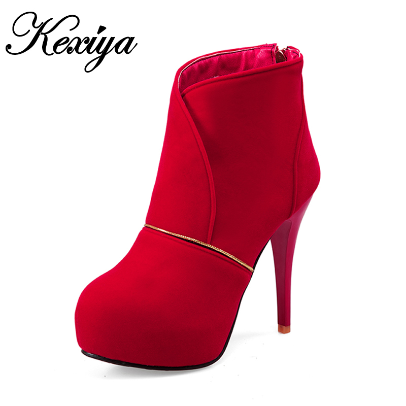 Big size 33-45 Short boots fashion winter red women wedding Shoes sexy Round Toe platform high heels Ankle boots zapatos mujer new fashion round toe thin heels ankle boots for women wedding shoes platform pumps boots big size 34 43