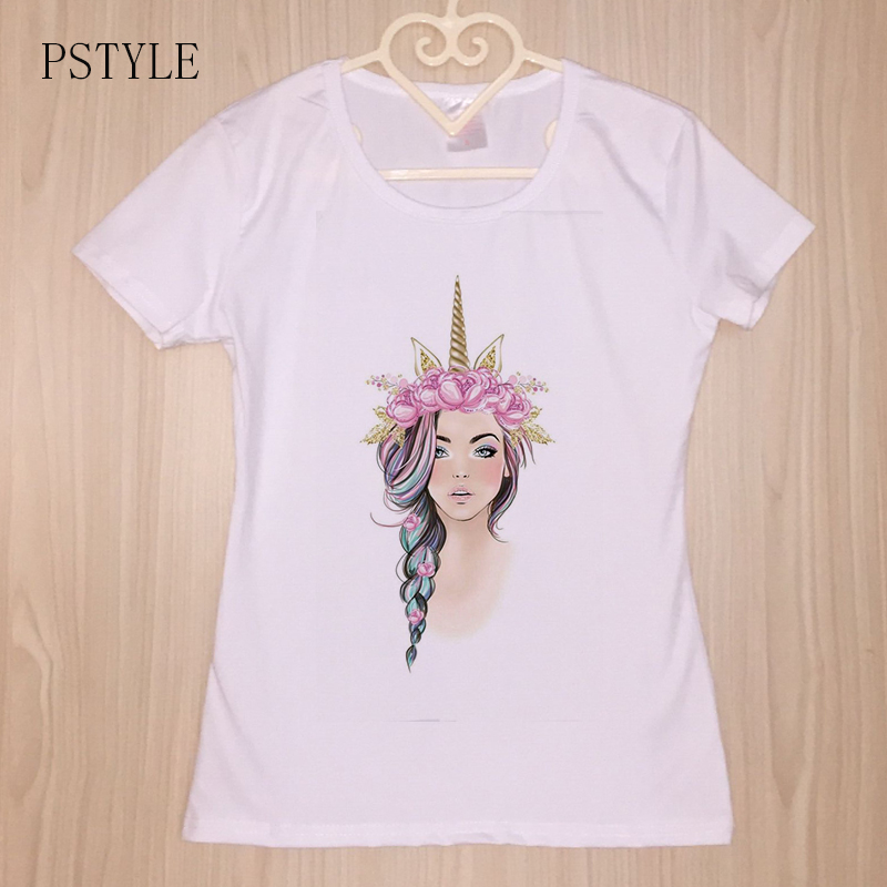 Women 2019 Summer Tshirt Sweet Unicorn Girl Print Kawaii Tee Shirt Short Sleeve Harajuku Female White Tops Drop Ship