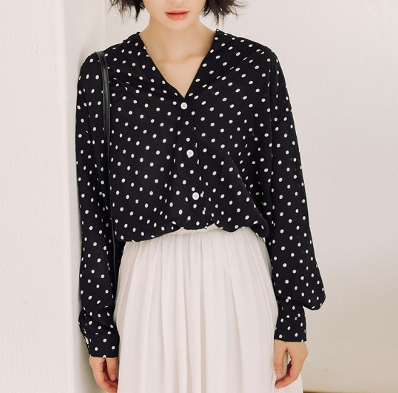 c0506416d7bdea korean fall chiffon blouses and tops black white red polka dots 2018 woman  autumn V-NECK shirt elegant fashion loose blouse girl