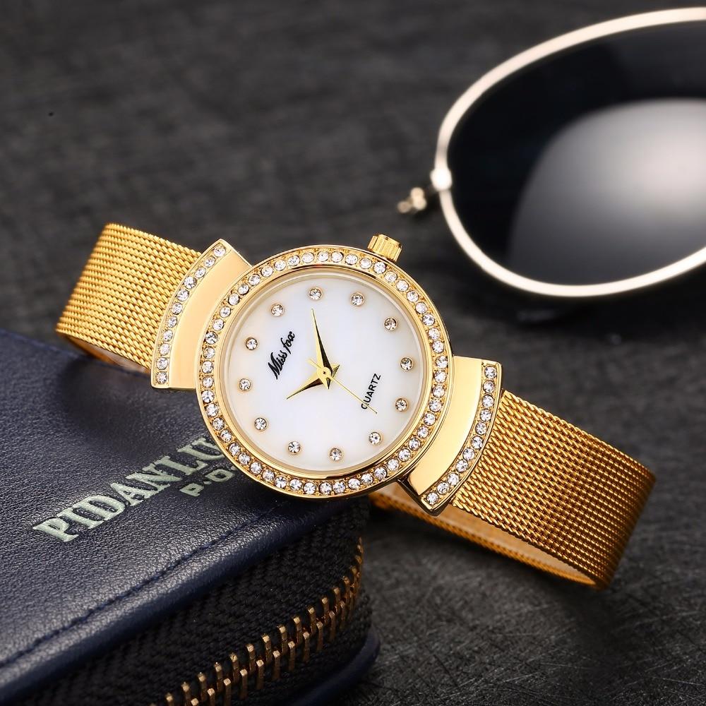 Herrenuhren Uhren Hingebungsvoll Damenuhr Missfox Montre Femme Diamant Womens Kleine Uhren Stahl Mesh Gold Uhr Quarzuhr Stunden Für Teenager Mädchen Geschenk ZuverläSsige Leistung