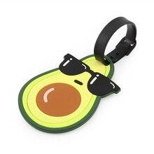Avocado Cartoon Silicone Luggage Card Travel Tag Suitcase Label Travel Accessories