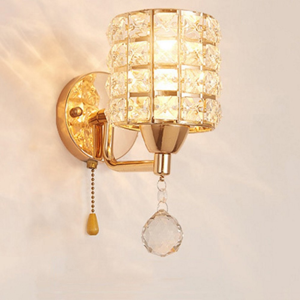 Wall Sconce Crystal Wall light Led Crystal Wall Lamp Bedroom Bedside Gold Lamp European Corridor Living Room Wall Lamp Light