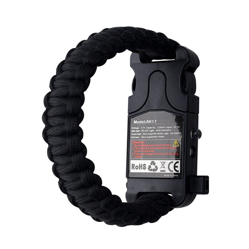 7 in 1 Paracord Survival Bracelet Multifunctional Laser Flashlight Bracelet Hand woven Infrared For Camping Equipment Tool in Paracord from Sports Entertainment