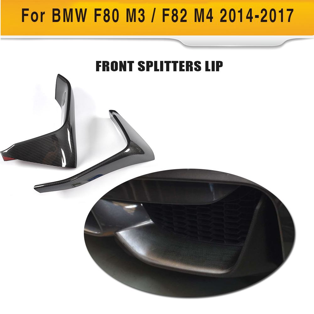 Carbon Fiber Car Front Lip Splitter Rear Splitters Fog Lamp Trim for BMW F80 M3 Sedan 4Door F82 M4 Coupe 2Door 2014-2017 carbon fiber front fog light cover for bmw e46