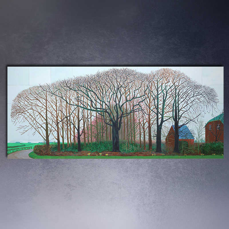 david hockney bigger trees near warter oil painting huge sizes Giclee poster print on canvas for wall painting