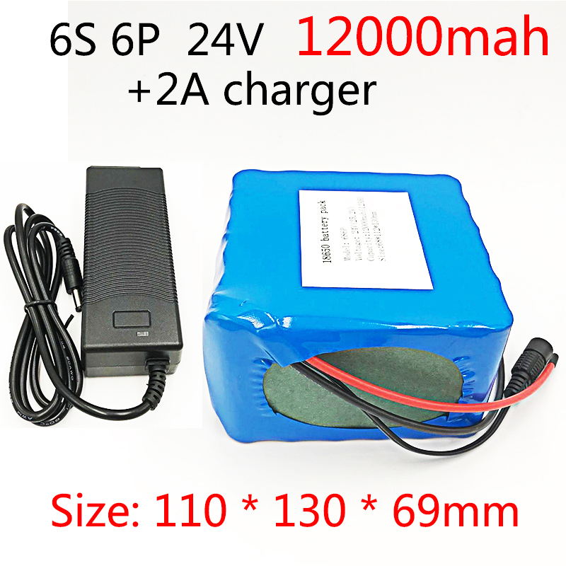Bicycle Battery 24V 12ah 6S6P Lithium Battery 25.2V 12Ah Lithium-Ion rechargeable battery 350W E Bicycle 250W With 2A charger protective pc case with 5400mah rechargeable lithium battery