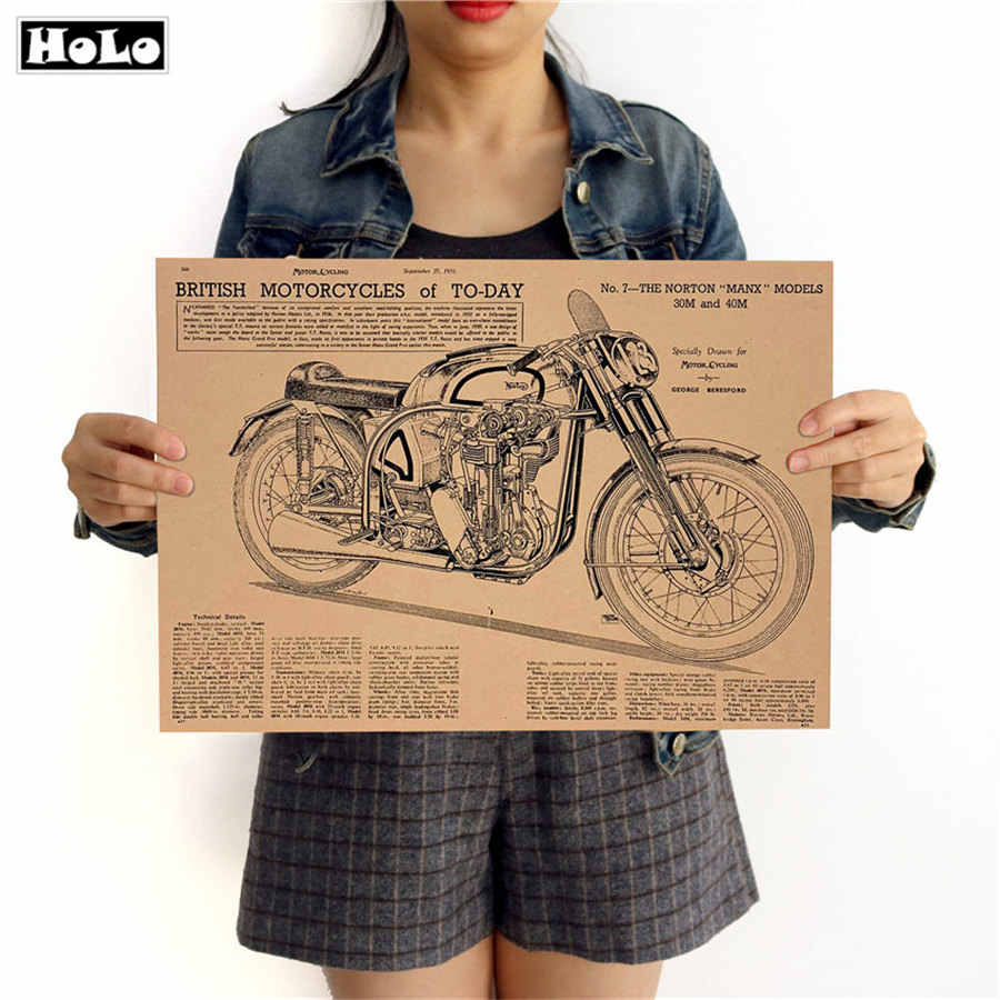 Motorcycle Chart Vintage Posters Kraft Paper Retro print Bar Pub Cafe Home decor Wall Sticker paint 42x30cm GGB038