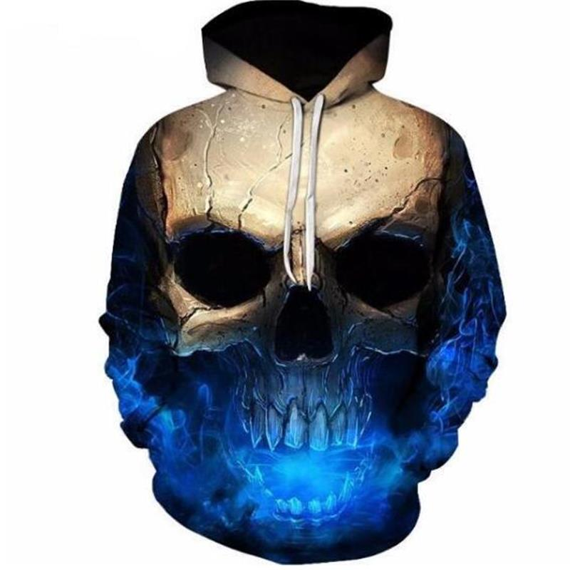 2018 3D Hoodies Men Hooded Sweatshirts Melted Skull 3D Print Casual Pullovers Streetwear Tops Autumn Regular Hipster