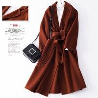 Осенне зимняя обувь шерстяное пальто женская модная шерстяная одежда длинное пальто кашемировое пальто женские пояса высокого качества с