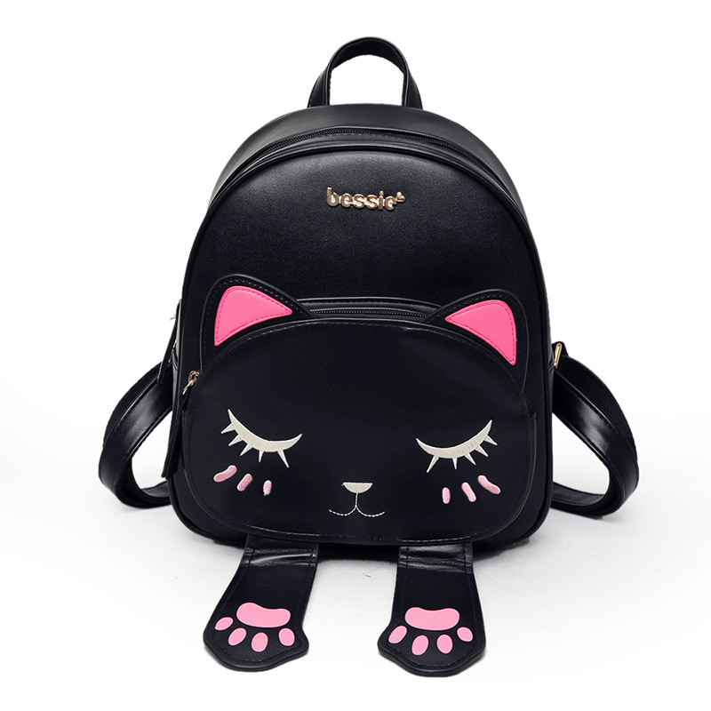 Cat Backpack School Backpacks for Girls Funny Quality Pu Leather Fashion Women Shoulder Bag Travel Back Pack Mochila цена и фото
