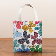 New 2019 classic butterfly flower PVC waterproof printing green shopping bag handbag fashion casual ladies bag(China)