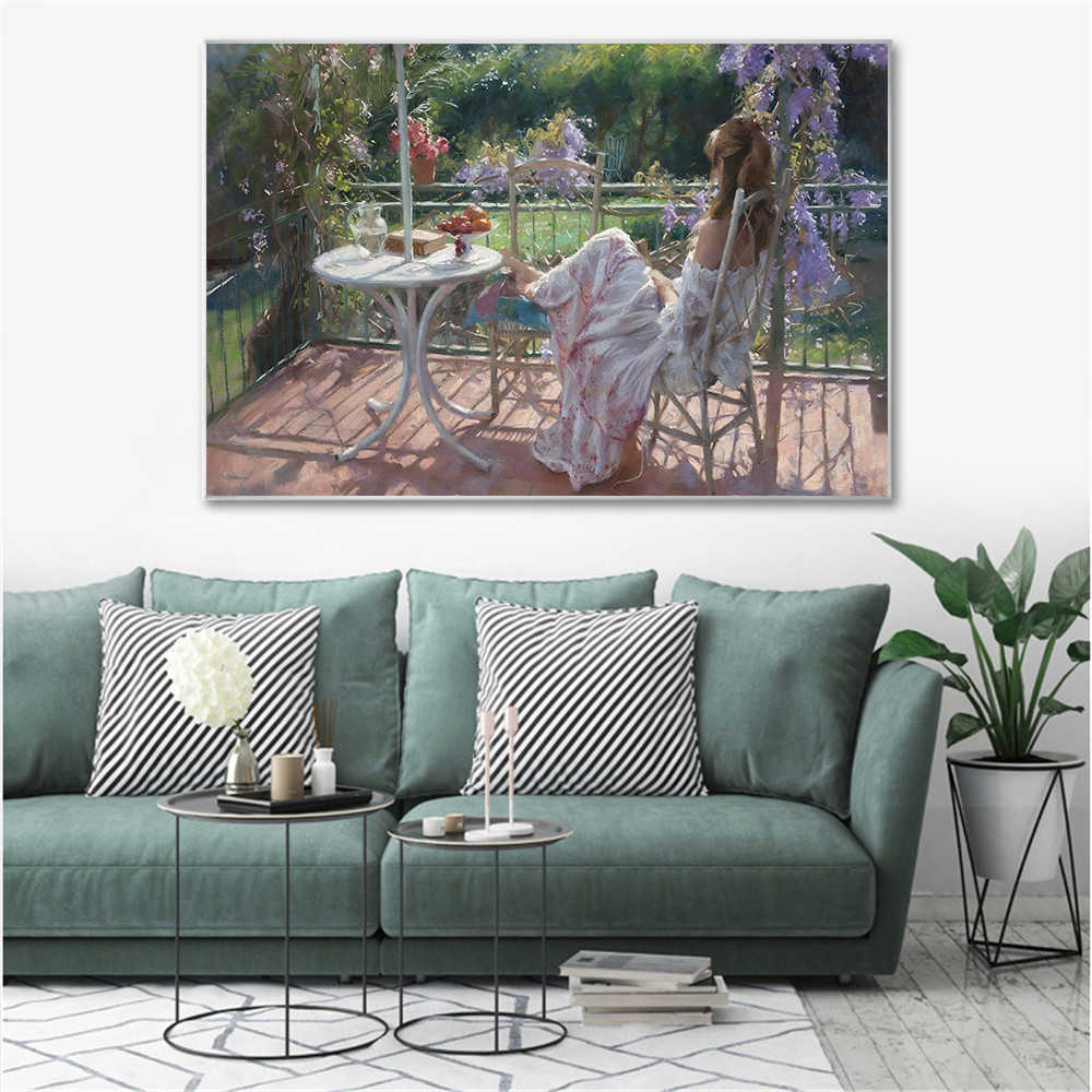 Abstract Oil Painting Villa Relax Girl Wall Art Picture Canvas Gardon Spanish Artist Girl Posters And Prints Purple Flower Decor